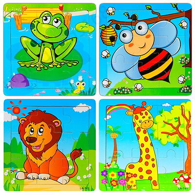 Multi-Color Animal Wooden 9 Pieces Jigsaw Puzzle Toy for Preschool Toddler Kids - Puzzles For Preschoolers