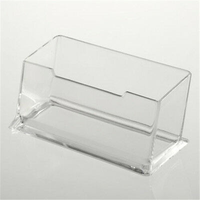 New Plastic Ridged Clear Acrylic Business Card Table Counter Desk Top Holder B