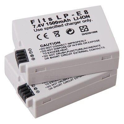 2 x New LP-E8 Battery for Canon REBEL T5i T4i T3i T2i EOS 700D 650D 600D 550D