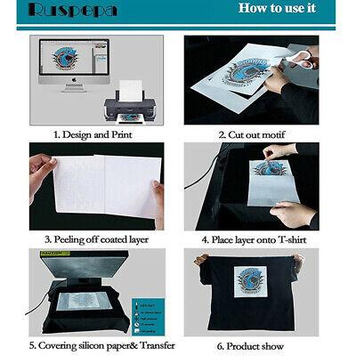 10x T-shirt Print Iron-on Heat Press Lightdark Fabrics Inkjet Transfer Paper Us