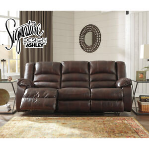 Top grain leather reclining couch