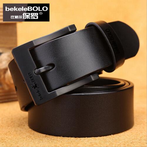 Mens Belt Genuine Leather Belts Real Buckle Trouser Brown Black Jeans Adjustable