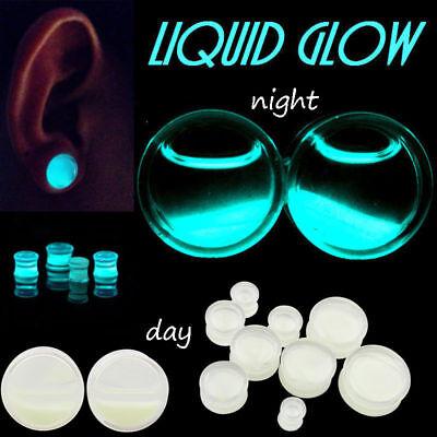 Glow In the Dark Acrylic Ear Gauge Liquid Filled Earring Plug Body Flesh Tunnels - Glow In The Dark Body