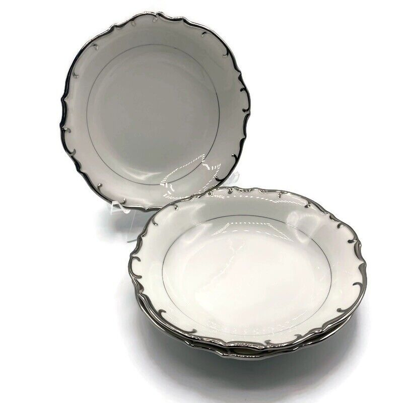 "Bristol Nobility Fine China 8"" Dessert Soup Bowls White Platinum Japan Vintage"
