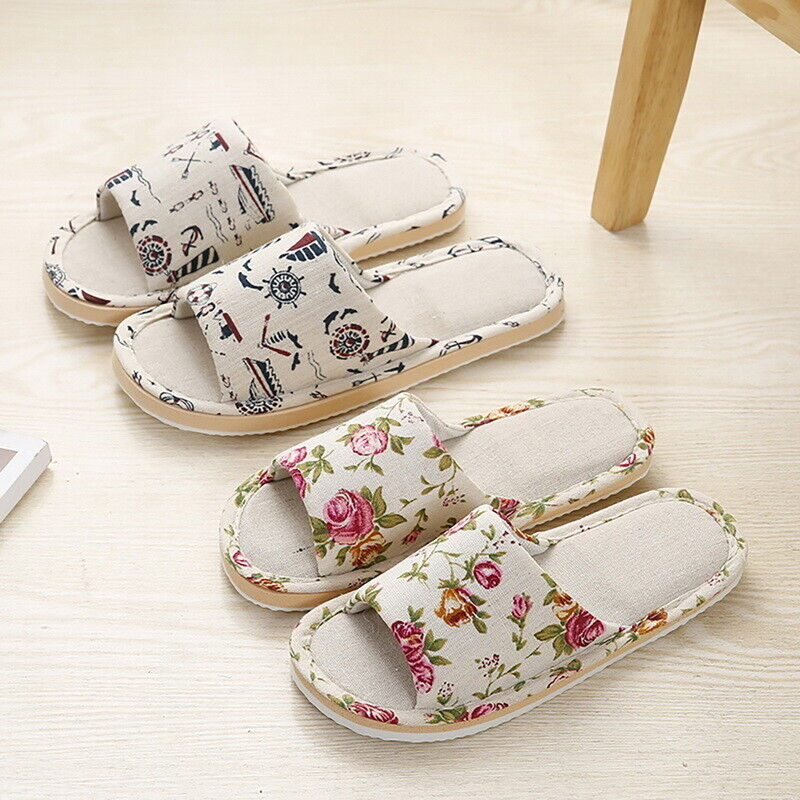 Women Cotton Linen Open Toe Home Slippers Ladies Anti-slip Flat Indoor Shoes SH 1