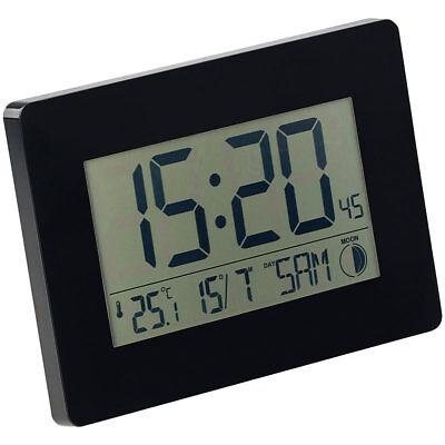 PEARL Funk-Wanduhr mit Jumbo-Uhrzeit, Temperatur- & Datums-Anzeige, schwarz