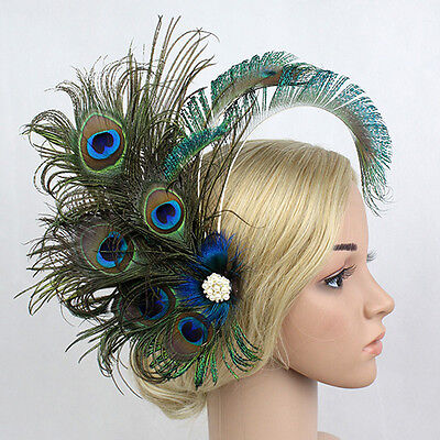 1920's Peacock Feather Hairpin Hair Clip Fascinator