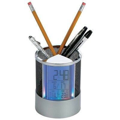 Desktop PEN HOLDER Alarm CLOCK Calender Thermometer LED Color Light Organizer
