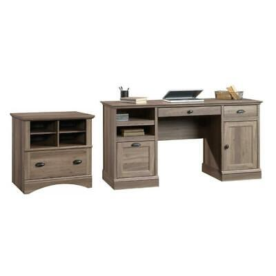 Barrister Lane 2 Piece Executive Desk and Lateral File Cabinet Set in Salt Oak