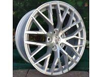 """x4 20"""" Audi R8 Style Alloys Audi A4 A6 A5 A7 A8 Q5 SQ5 Silver Polished"""