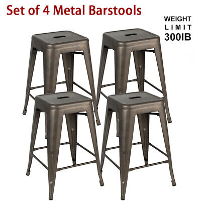 Set of 4 24 inch Vintage Metal Bar Stools Stackable Counter Height Barstools Gun Dining Room Set Bookcase