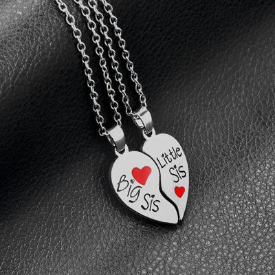 Big Christmas Gifts (Big/Little Sister Heart silver necklace pendants,Best Christmas gifts for)
