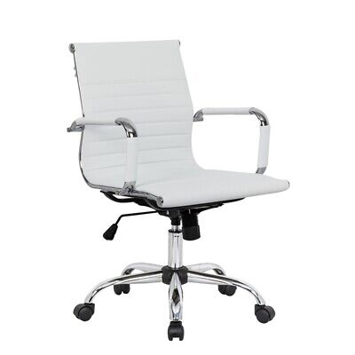 Leisuremod Harris Modern Leatherette Executive Swivel Office Chair In White