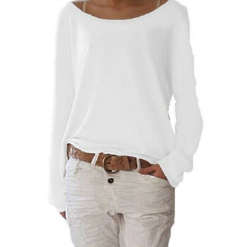 Damen Langarmshirt T-Shirt Sommer Lose Tops Bluse Basic Pullover Shirt Übergröße