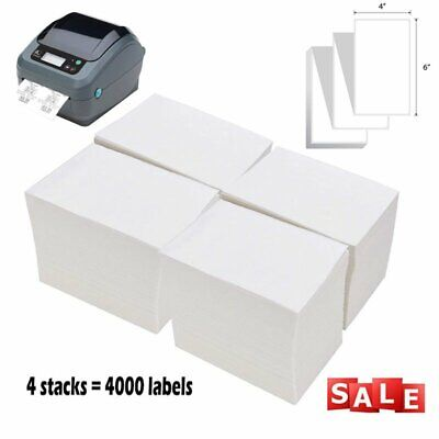 4000 Fanfold 4x6 Direct Thermal Shipping Labels 4 Stacks For Zebra Eltron 2844