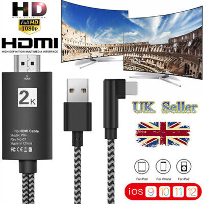 2M iOS To HDMI Digital AV TV Cable Adapter For iPad iPhone X 8 7 6 Plus 5 XS 11