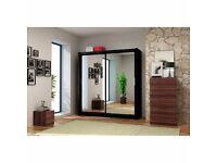 Berlin Sliding Full Mirror Wardrobe 120cm/150cm/180cm/203cm Color Black/White/Wenge/Walnut