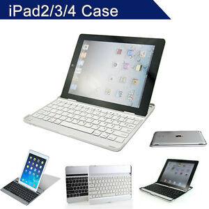 iPad 4 Keyboard Case Aluminum Cover Dock For iPad 2 3  Bluetooth Wireless