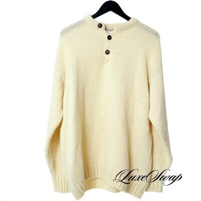 Fisherman Made in Ireland Hand Loomed Vanilla Three Button Henley Sweater L NR