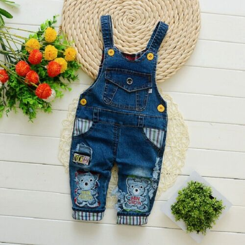DIIMUU Baby Boys Denim Clothes Overalls Pants Kids Boy Jeans Trousers Bottoms