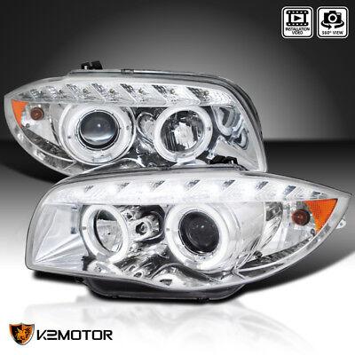 07-13 BMW E82 E88 US E87 1-Series LED Halo Projector Headlights Chrome