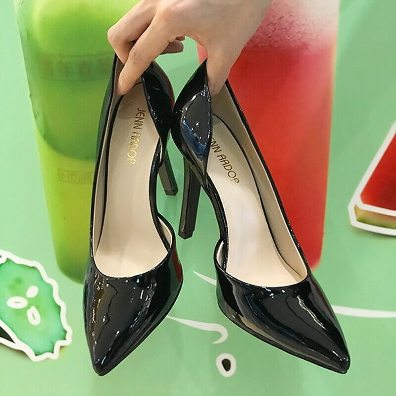 Women's Black High Heel Shoes Pointed Toe Stiletto Dress Pumps Slip On All Size 1