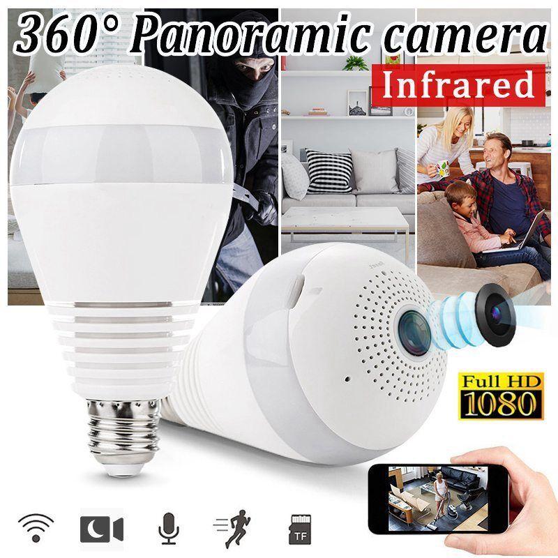 360° 1080P Hidden wifi Camera Light Bulb Security IP Camera Panoramic Cam DV