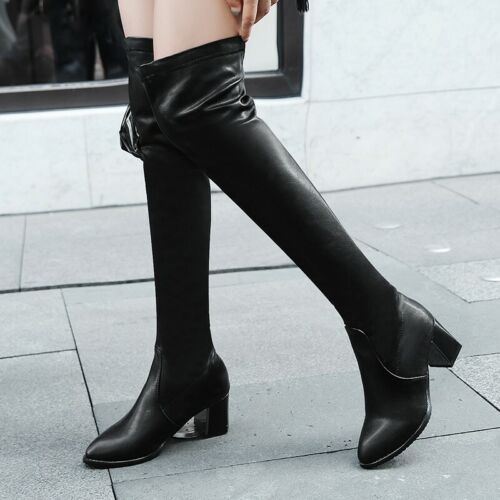 Details about  /Women/'s Pull On Stretch High Heel Block Thigh High Over Knee Boots Shoes 34//43 L