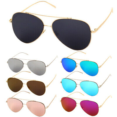 Fashion Mirror Shades Sunglasses Pilot Metal Frame Glasses Double Bridge UV 400
