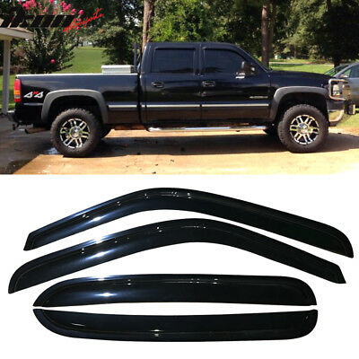 Fits 01-07 Chevy Silverado GMC Sierra Window Visor Dark Smoke Tint Acrylic