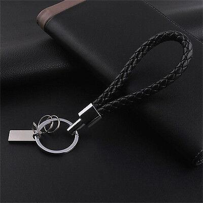 Men Fashion Braided Leather Keychain Car Key Chain Ring Keyfob Keyring GiftATUJ