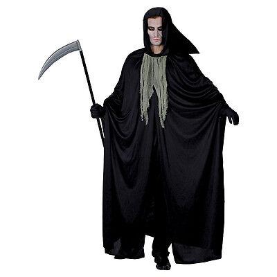 Horror Grim # MUERTE GUADAÑA Negro Capa miedo edulto Disfraz de Halloween - Disfraz Halloween Miedo