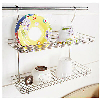 Stainless Hook 2 Floor Dish Rack  Cup Storage Shelf Sink Kitchen Organizer New