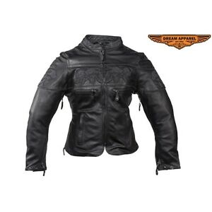 Womens Leather Motorcycle Jacket With Reflective Skulls