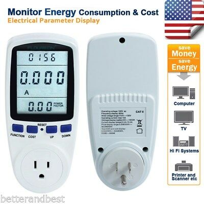 Lcd Power Meter Consumption Energy Analyzer Watt Amps Volt Electricity Monitor