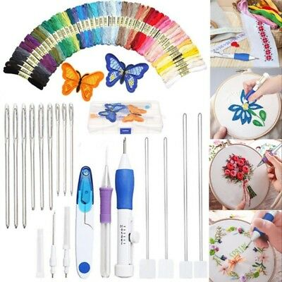 Knitting Sewing Needle (Magic DIY Embroidery Pen Knitting Sewing Tool Kit Punch Needle Set+50 Thread)