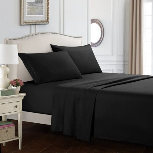 Queen Size Egyptian Comfort 1800 Count 4 Piece Bed Sheet Set Deep Pocket Sheets