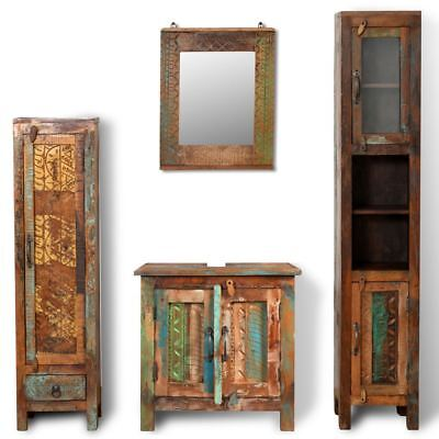 vidaXL Vanity Cabinet Set Mirror Reclaimed Solid Wood Storage Bathroom Furniture