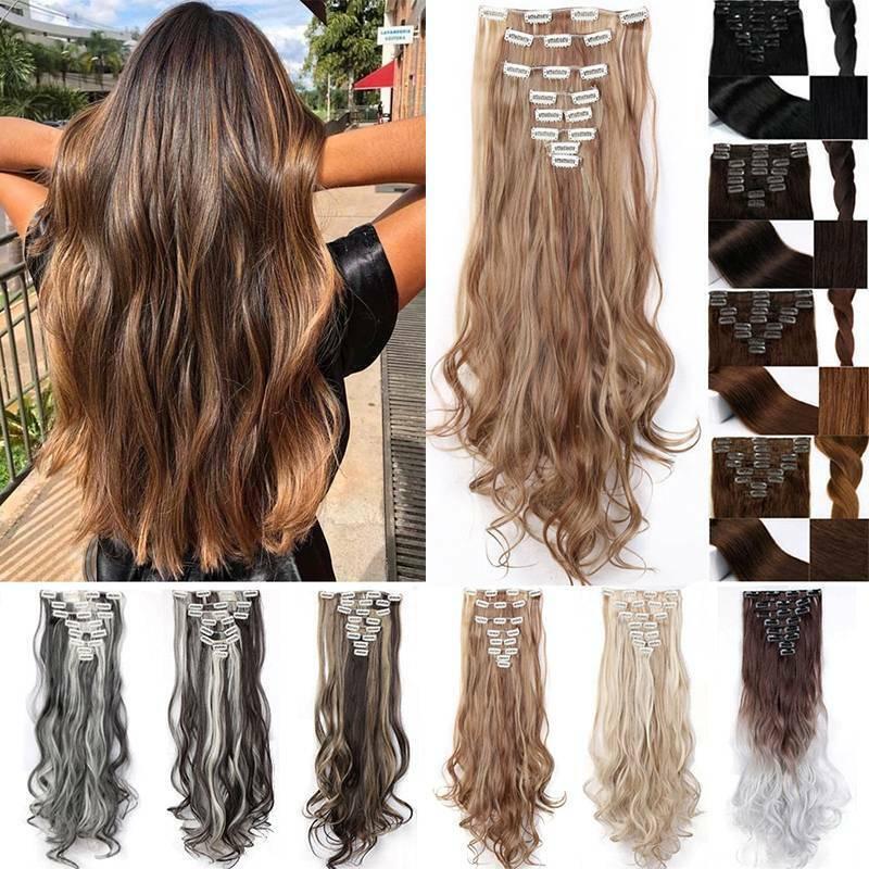 8 Haarteile wie Echthaar Clip In Lang Gelockt/Glatt Hair Extensions 18Clips DE