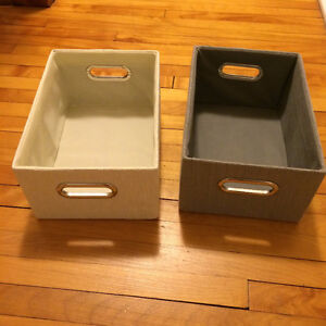 Storage boxes - linen and grey colour with silver handles