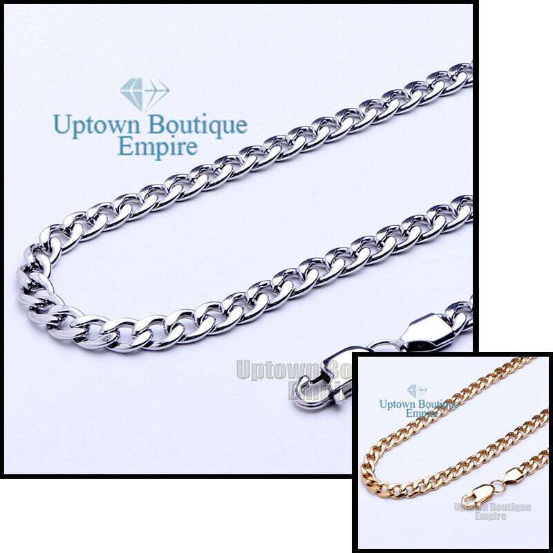 Jewellery - Women Men Stainless Steel Cuban Necklace 3,4,5,6,8,10,12mm Chain Link