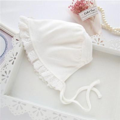 Newborn Infant Christening Bonnet Beach Bucket Hat Baby Girl Sun Summer Cap -