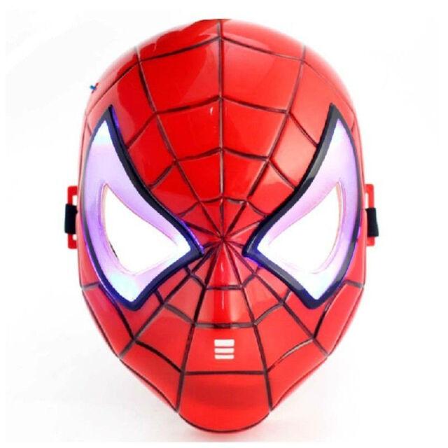 Fun Cute Super Hero Spider-Man Figures LED Light Cosplay Mask Kids Children Toy