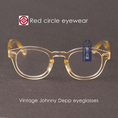 Retro Johnny Depp eyeglasses mens flesh glasses anti blue glare clear lenses  ()