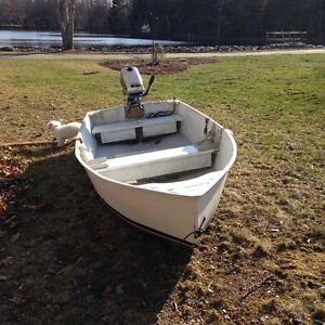 Fiberglass boat - 11 feet long, 4.5 feet wide high sides w/motor