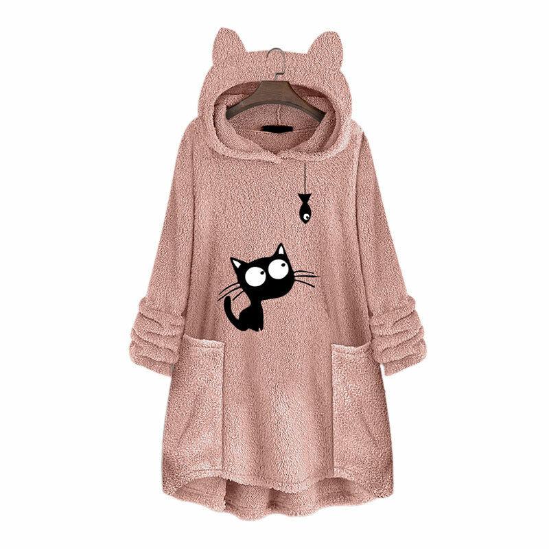 Damen Kapuzenpullover Fleece Teddyjacke Sweatshirt Katzenohr Pulli Hoodie Jumper
