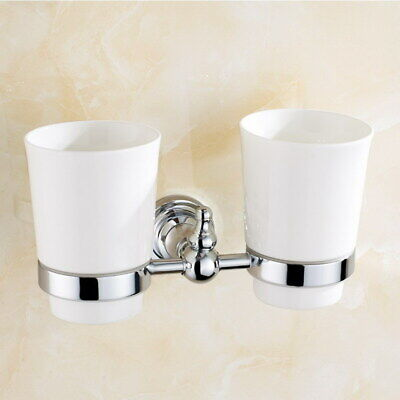 Polished Chrome Toothbrush Holder Wall Mounted Double Toothpaste Ceramic (Toothpaste Silver Polish)