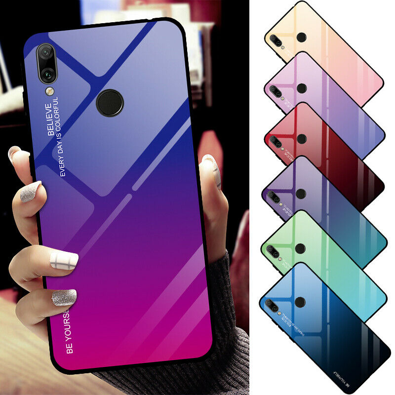 Details about For Huawei Y7 Pro/Prime 2019 Enjoy 8/9 Gradient Tempered  Glass Phone Case Cover