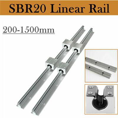 Sbr20 Linear Rail Guideway Slide 2pcs 200-2000mm 4pcs Sbr20uu Block Bearing