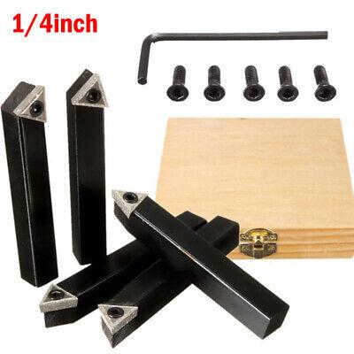 5pc 14 Shank Cnc Lathe Indexable Carbide Insert Turning Tool Bit Holder Set